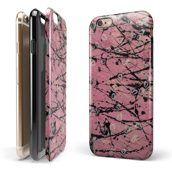 Abstract Wet Paint Pink and Black iPhone 6/6s or 6/6s Plus 2-Piece Hybrid INK-Fuzed Case