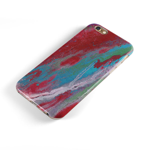 Abstract Wet Paint Red and Blue iPhone 6/6s or 6/6s Plus 2-Piece Hybrid INK-Fuzed Case