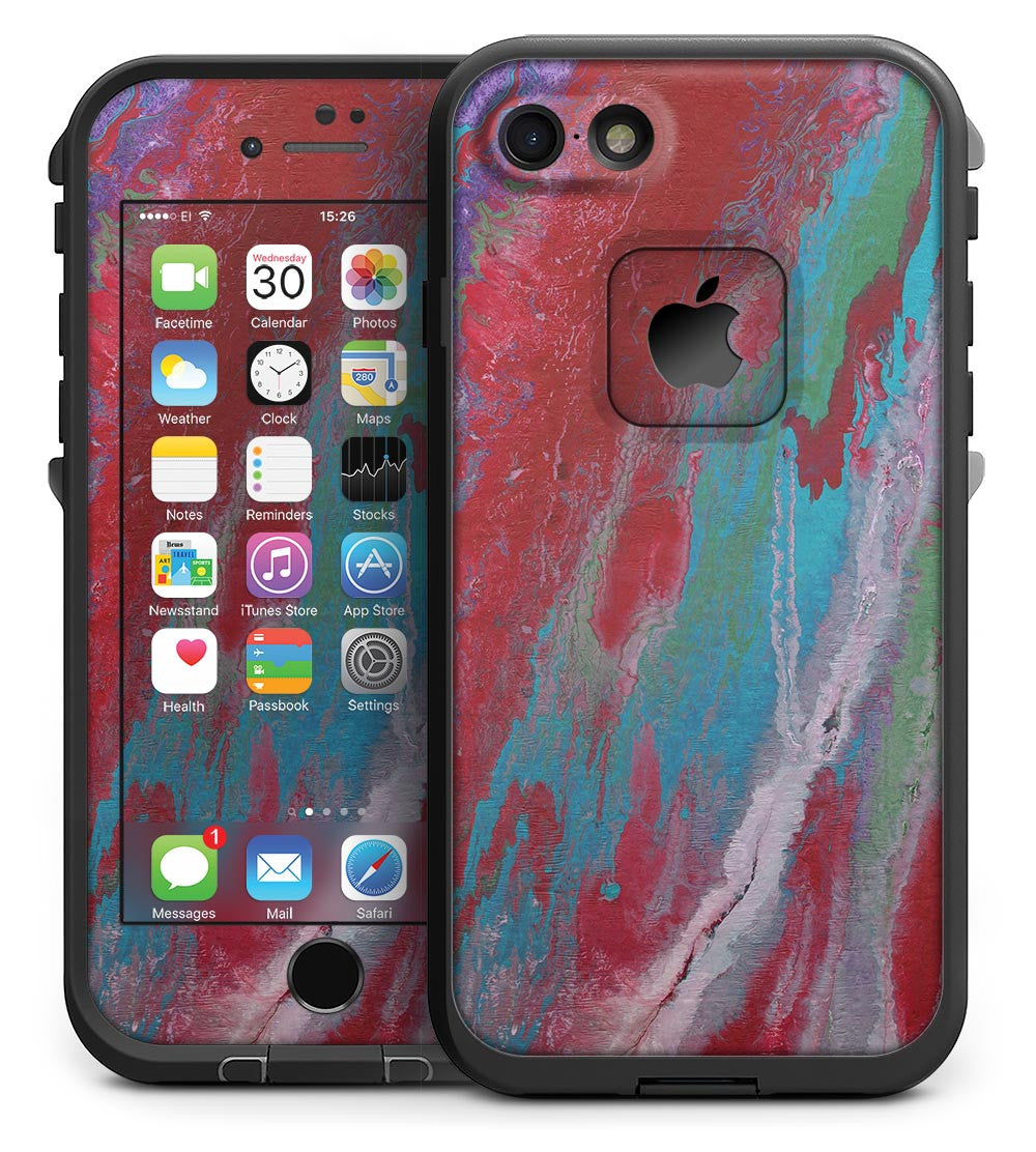 size 40 b019b 81ade Abstract Wet Paint Red and Blue - iPhone 7 LifeProof Fre Case Skin Kit