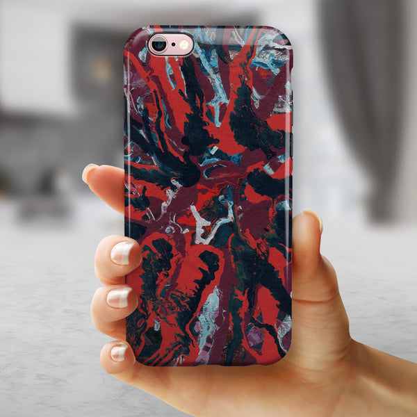 Abstract Wet Paint Red v95 iPhone 6/6s or 6/6s Plus 2-Piece Hybrid INK-Fuzed Case
