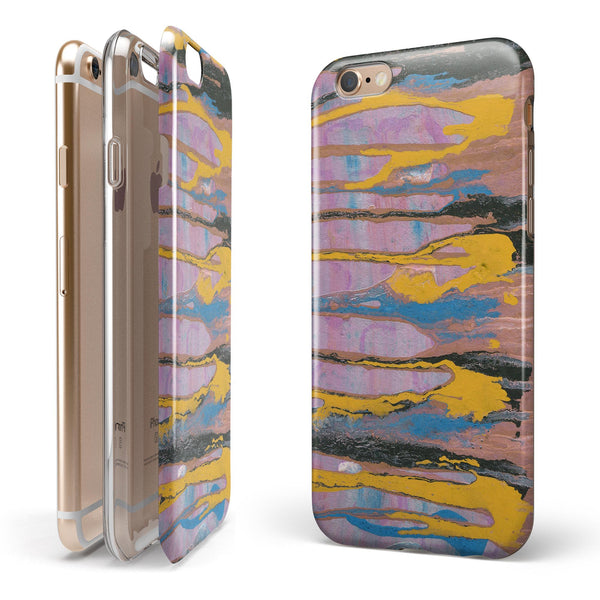 Abstract Wet Paint Retro Pink iPhone 6/6s or 6/6s Plus 2-Piece Hybrid INK-Fuzed Case