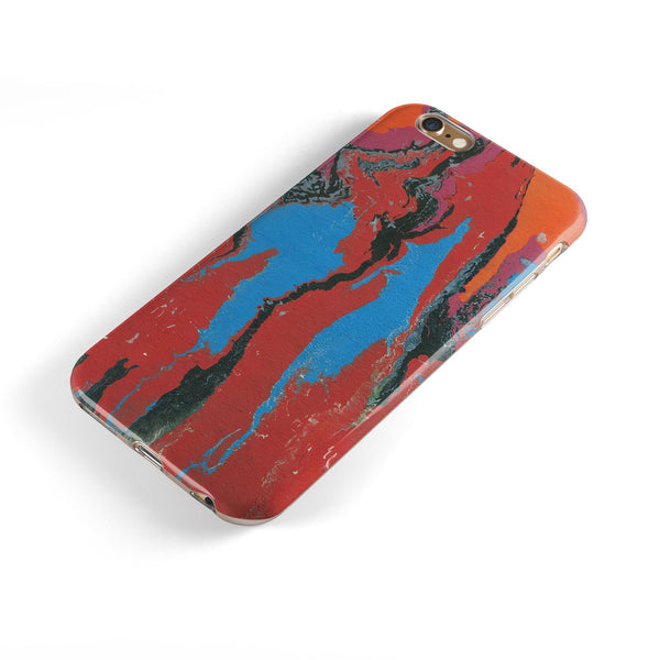 Abstract Wet Paint Retro V4 iPhone 6/6s or 6/6s Plus 2-Piece Hybrid INK-Fuzed Case