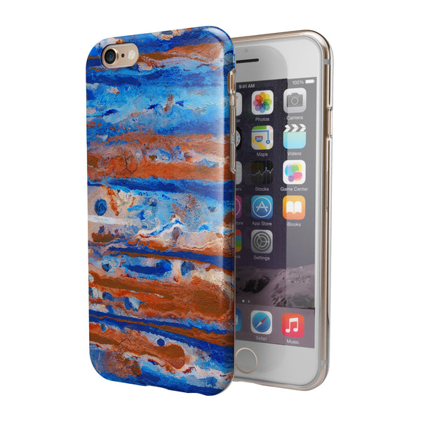 Abstract Wet Paint Rustic Blue iPhone 6/6s or 6/6s Plus 2-Piece Hybrid INK-Fuzed Case