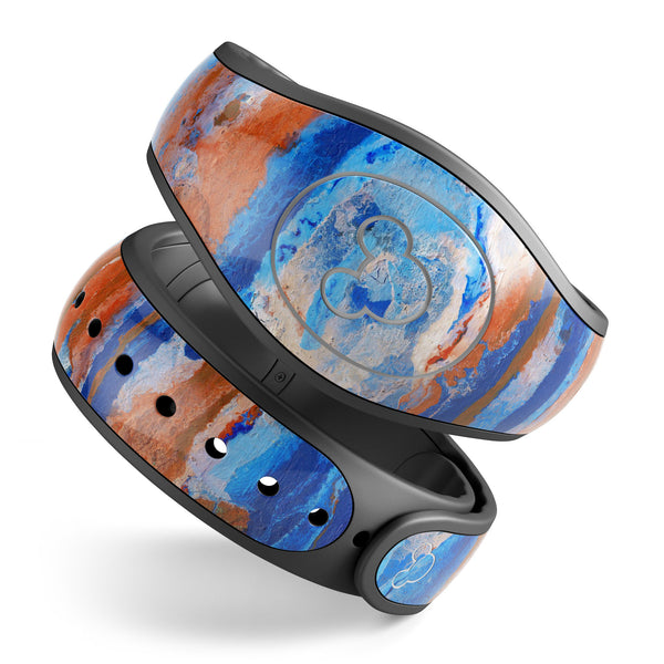 Abstract Wet Paint Rustic Blue - Decal Skin Wrap Kit for the Disney Magic Band