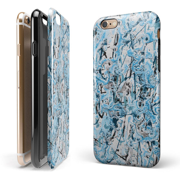 Abstract Wet Paint Teal iPhone 6/6s or 6/6s Plus 2-Piece Hybrid INK-Fuzed Case