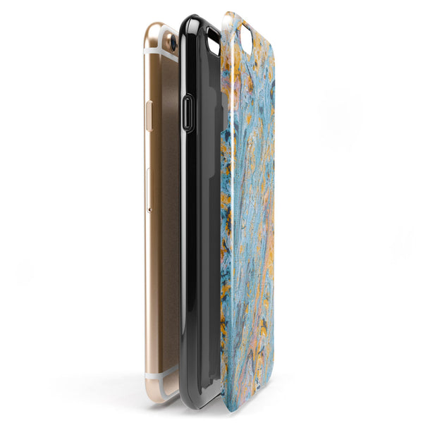 Abstract Wet Paint Teal and Gold iPhone 6/6s or 6/6s Plus 2-Piece Hybrid INK-Fuzed Case