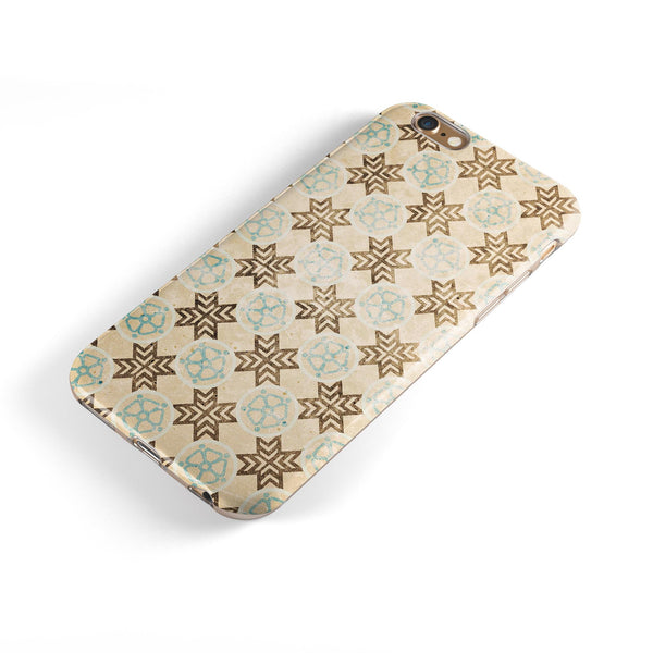 Aged Aqua Polygon Pattern iPhone 6/6s or 6/6s Plus 2-Piece Hybrid INK-Fuzed Case
