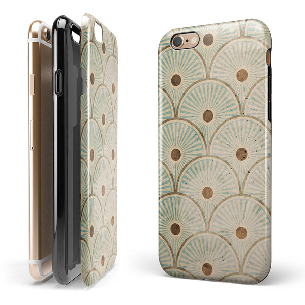 Aged Aqua SemiCircles with Polka Dots iPhone 6/6s or 6/6s Plus 2-Piece Hybrid INK-Fuzed Case