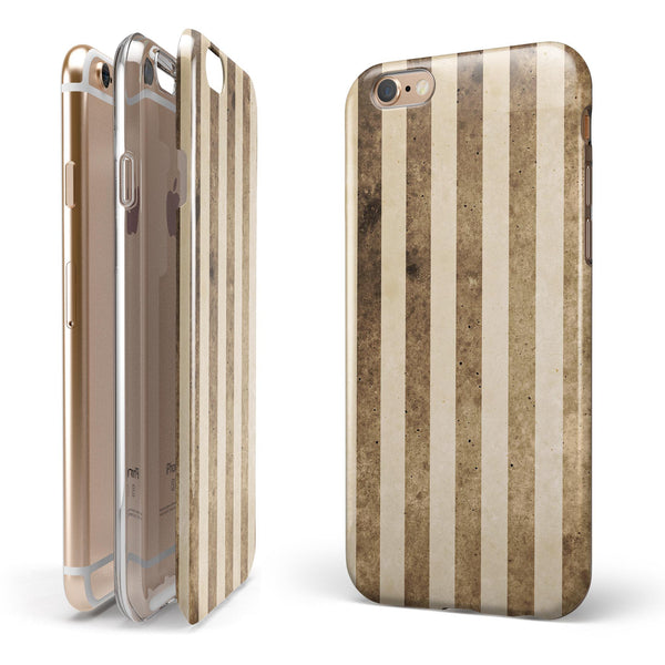 Aged Brown and Grunge Vertical Stripes iPhone 6/6s or 6/6s Plus 2-Piece Hybrid INK-Fuzed Case