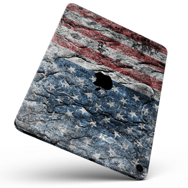 "Aged and Wrinkled American Flag - Full Body Skin Decal for the Apple iPad Pro 12.9"", 11"", 10.5"", 9.7"", Air or Mini (All Models Available)"