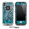Cheetah Animal Print Turquoise V5 Skin for the iPhone 5 or 4/4s LifeProof Case