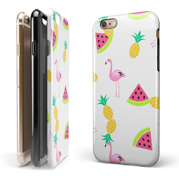 Animated Flamingos and Fruit iPhone 6/6s or 6/6s Plus 2-Piece Hybrid INK-Fuzed Case