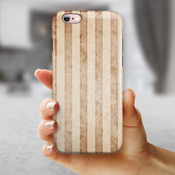Antique Brown and White Vertical Stripes iPhone 6/6s or 6/6s Plus 2-Piece Hybrid INK-Fuzed Case