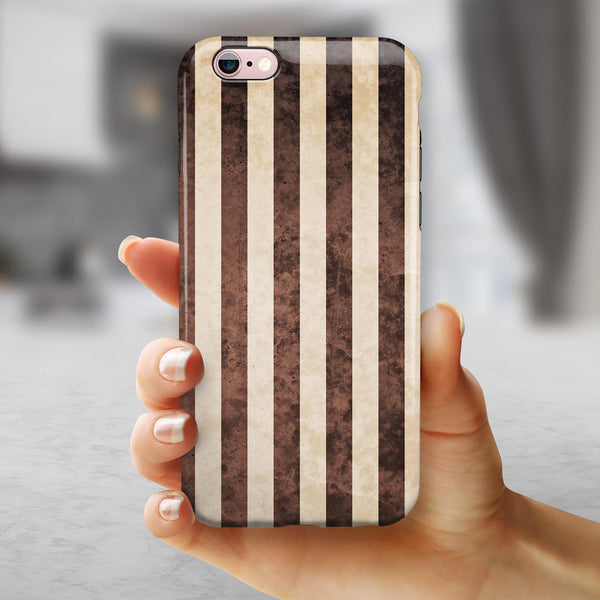 Antique Cocoa and Tan Vertical Stripes iPhone 6/6s or 6/6s Plus 2-Piece Hybrid INK-Fuzed Case