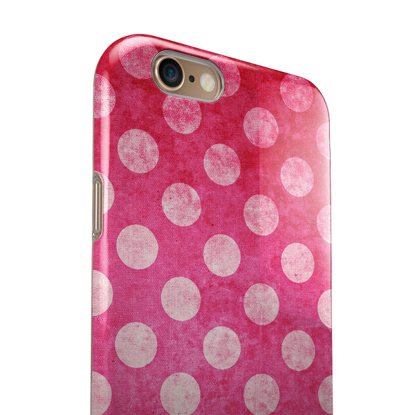 Antique Magenta and Pink Polkadotted Pattern iPhone 6/6s or 6/6s Plus 2-Piece Hybrid INK-Fuzed Case