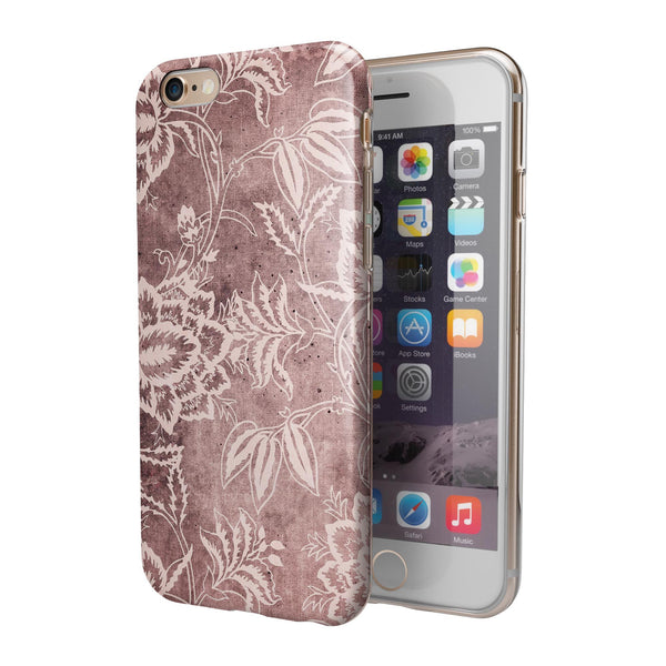 Antique Marron Floral Damask Pattern iPhone 6/6s or 6/6s Plus 2-Piece Hybrid INK-Fuzed Case