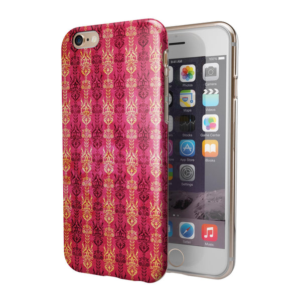 Antique Pink and Yellow Damask Pattern iPhone 6/6s or 6/6s Plus 2-Piece Hybrid INK-Fuzed Case