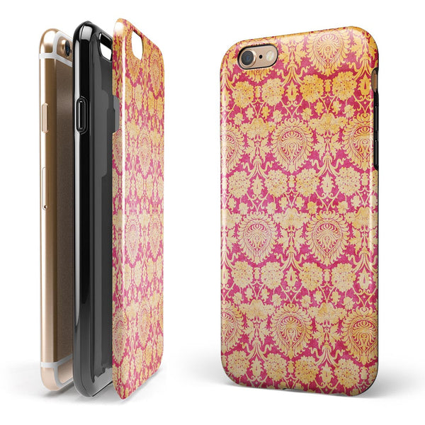 Antique Red and Orange Cauliflower Damask Pattern iPhone 6/6s or 6/6s Plus 2-Piece Hybrid INK-Fuzed Case
