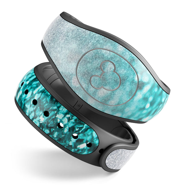 Aqua Blue & Silver Glimmer Fade - Decal Skin Wrap Kit for the Disney Magic Band