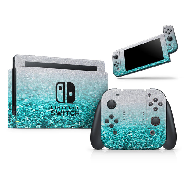 Aqua Blue & Silver Glimmer Fade - Skin Wrap Kit for Nintendo Switch, Switch Lite Console | 3DS XL | 2DS | Pro | Joy-Con Gaming Controller
