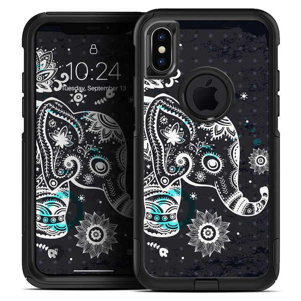 Aztec Elephant Blue Accented Modern Illustration - Skin Kit for the iPhone OtterBox Cases
