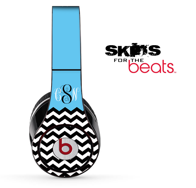 Blue, White and Black Chevron Custom Monogram Pattern Skin for the Beats by Dre Solo, Studio, Wireless, Pro or Mixr