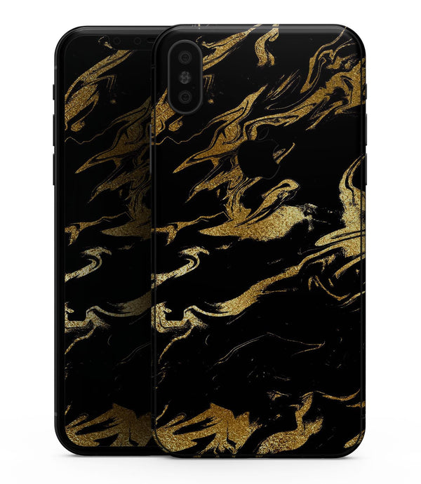 Black & Gold Marble Swirl V11 - iPhone XS MAX, XS/X, 8/8+, 7/7+, 5/5S/SE Skin-Kit (All iPhones Available)