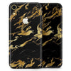 Black & Gold Marble Swirl V11 - Skin-Kit for the Apple iPhone XR, XS MAX, XS/X, 8/8+, 7/7+, 5/5S/SE (All iPhones Available)