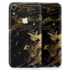Black & Gold Marble Swirl V12 - Skin-Kit for the Apple iPhone XR, XS MAX, XS/X, 8/8+, 7/7+, 5/5S/SE (All iPhones Available)