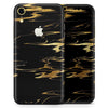 Black & Gold Marble Swirl V2 - Skin-Kit for the Apple iPhone XR, XS MAX, XS/X, 8/8+, 7/7+, 5/5S/SE (All iPhones Available)