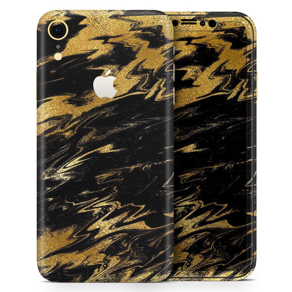 Black & Gold Marble Swirl V5 - Skin-Kit for the Apple iPhone XR, XS MAX, XS/X, 8/8+, 7/7+, 5/5S/SE (All iPhones Available)