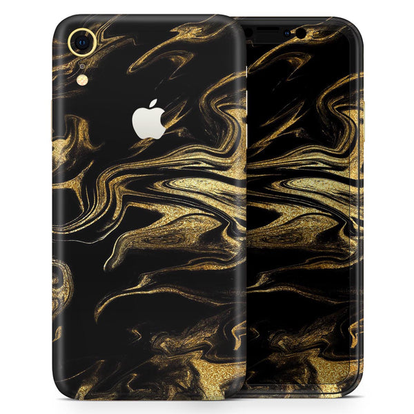 Black & Gold Marble Swirl V7 - Skin-Kit for the Apple iPhone XR, XS MAX, XS/X, 8/8+, 7/7+, 5/5S/SE (All iPhones Available)