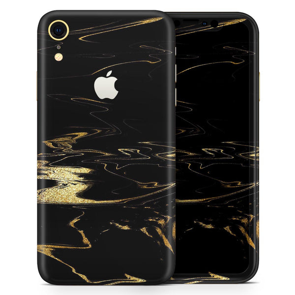 Black & Gold Marble Swirl V9 - Skin-Kit for the Apple iPhone XR, XS MAX, XS/X, 8/8+, 7/7+, 5/5S/SE (All iPhones Available)