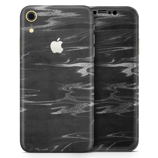 Black & Silver Marble Swirl V2 - Skin-Kit for the Apple iPhone XR, XS MAX, XS/X, 8/8+, 7/7+, 5/5S/SE (All iPhones Available)