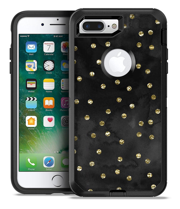 Black Watercolor and Gold Glimmer Polka Dots - iPhone 7 Plus/8 Plus OtterBox Case & Skin Kits