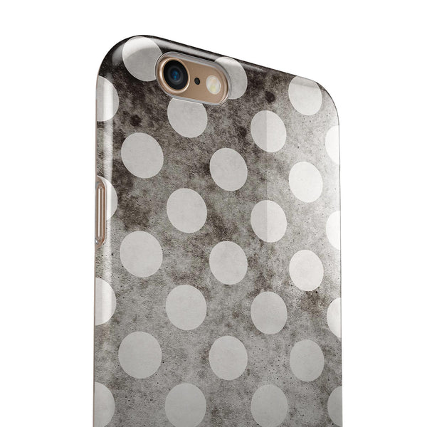 Black and Concrete Surface Polka Dots iPhone 6/6s or 6/6s Plus 2-Piece Hybrid INK-Fuzed Case