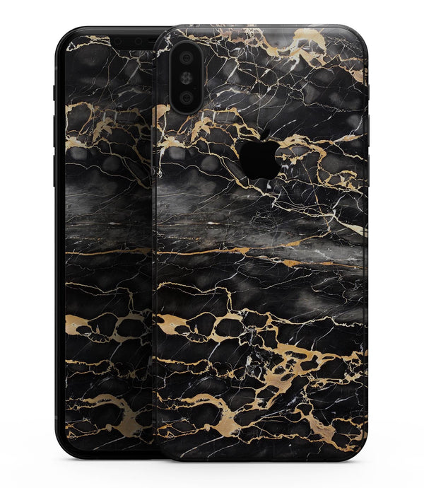 Black and Gold Marble Surface - iPhone XS MAX, XS/X, 8/8+, 7/7+, 5/5S/SE Skin-Kit (All iPhones Available)