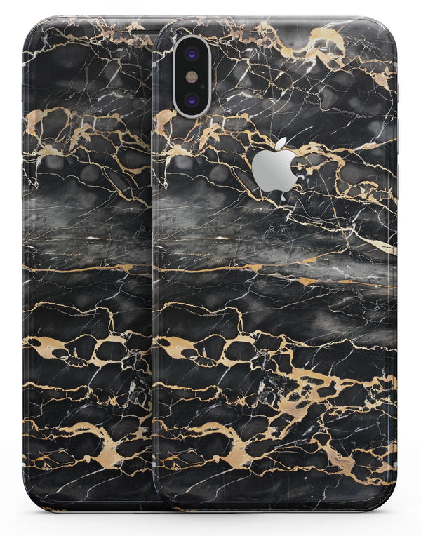 Black and Gold Marble Surface - iPhone X Skin-Kit