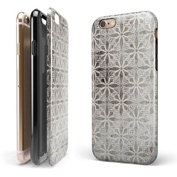 Black and Gray Floral Cross Pattern iPhone 6/6s or 6/6s Plus 2-Piece Hybrid INK-Fuzed Case