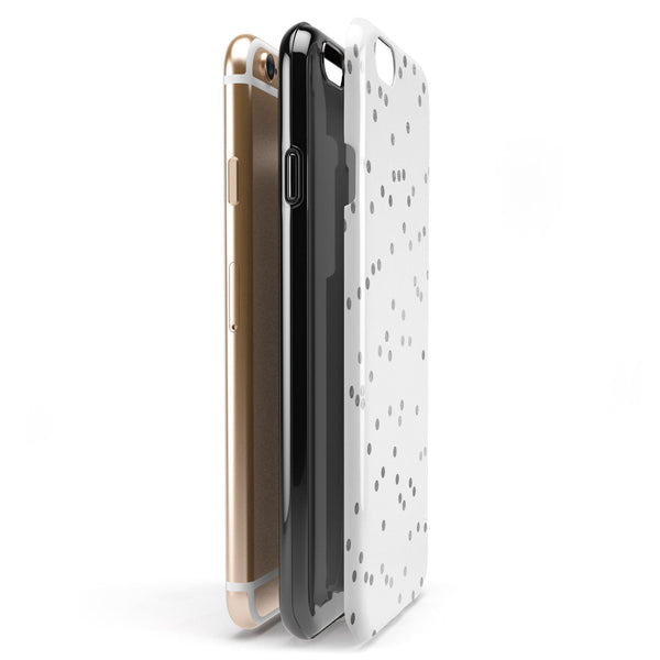 Black and Gray Scattered Polka Dots  iPhone 6/6s or 6/6s Plus 2-Piece Hybrid INK-Fuzed Case