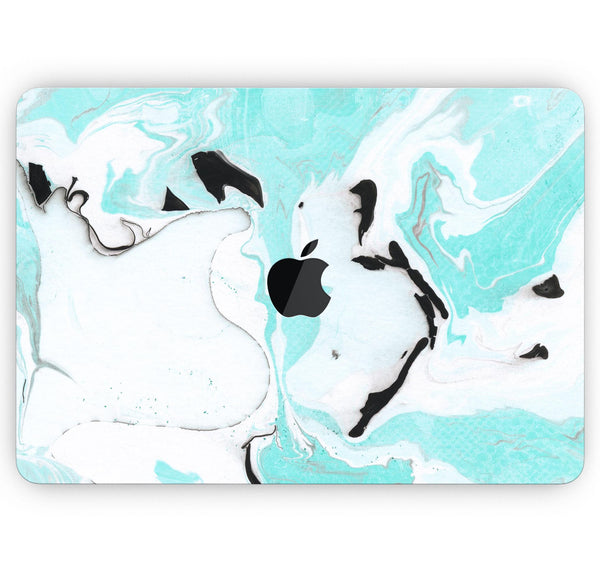 "Black and Teal Textured Marble - Skin Decal Wrap Kit Compatible with the Apple MacBook Pro, Pro with Touch Bar or Air (11"", 12"", 13"", 15"" & 16"" - All Versions Available)"