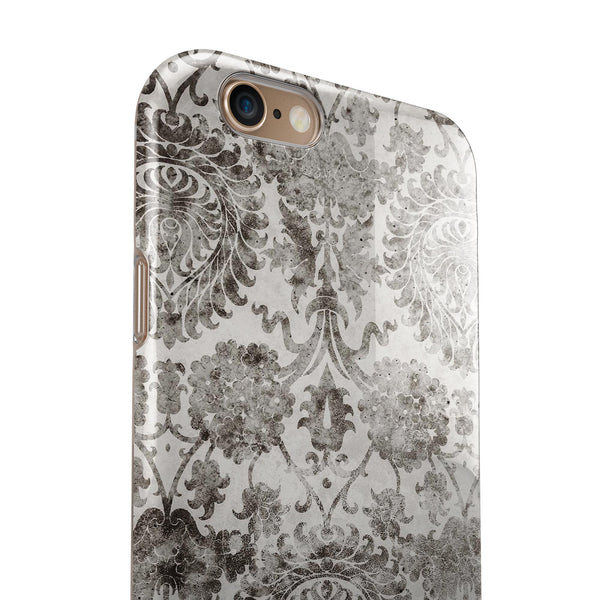 Black and White Cauliflower Damask Pattern iPhone 6/6s or 6/6s Plus 2-Piece Hybrid INK-Fuzed Case