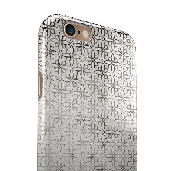 Black and White Floral Chess Pattern iPhone 6/6s or 6/6s Plus 2-Piece Hybrid INK-Fuzed Case