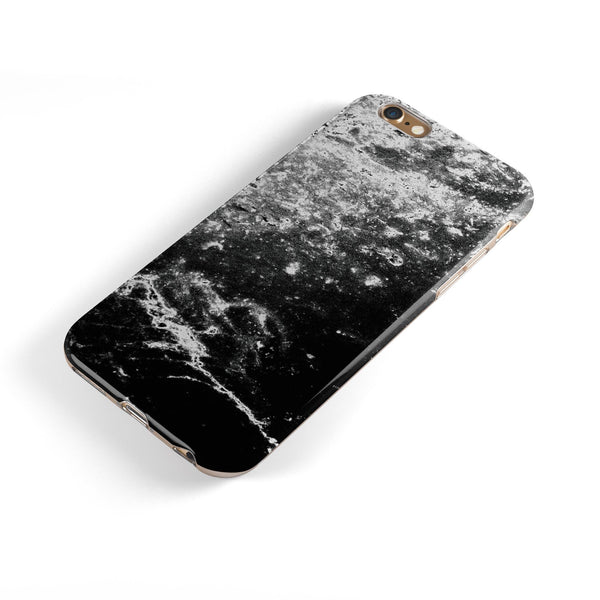 Black and White Grungy Marble Surface iPhone 6/6s or 6/6s Plus 2-Piece Hybrid INK-Fuzed Case