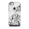 Black and White Vector Butterfly Floral  Skin for the iPhone 5c OtterBox Commuter Case