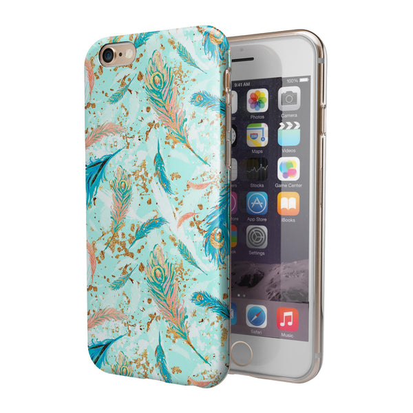 Blue Coral Whispy Feathers iPhone 6/6s or 6/6s Plus 2-Piece Hybrid INK-Fuzed Case