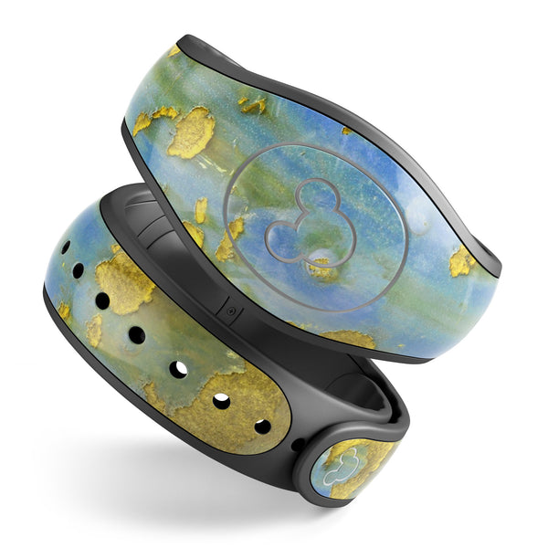 Blue Metal with Gold Rust - Decal Skin Wrap Kit for the Disney Magic Band