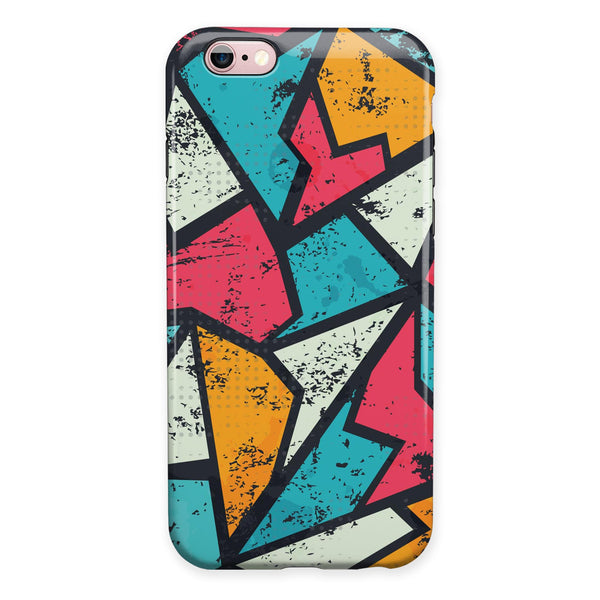 Blue, Orange, and Red Zig Zags iPhone 6/6s or 6/6s Plus 2-Piece Hybrid INK-Fuzed Case