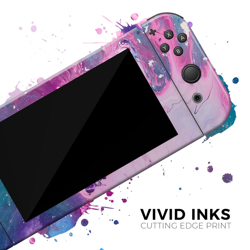 Blue & Pink Acrylic Abstract Paint - Skin Wrap Kit for Nintendo Switch, Switch Lite Console | 3DS XL | 2DS | Pro | Joy-Con Gaming Controller
