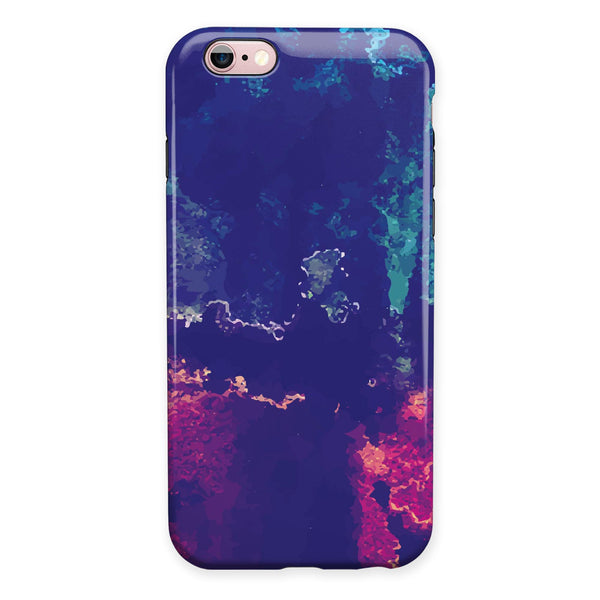 Blue & Purple Grunge iPhone 6/6s or 6/6s Plus 2-Piece Hybrid INK-Fuzed Case